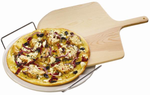 Pizzastein-Set Broil King mit Pizzaschaufel / Holzschieber für den Grill