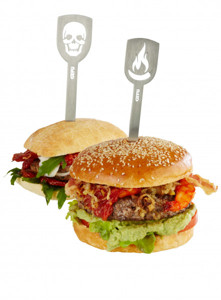 Gefu Hamburger-Spieße TORRO, 2 Stück (Stier/Fleischerbeil)