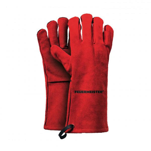 FEUERMEISTER® Grillhandschuhe Spaltleder rot (Paar) Größe 10 (L/XL)