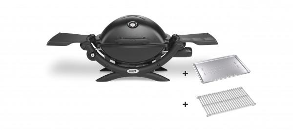 Weber Q1200 Gasgrill Black inkl. Hitzeschild und Bratenrost