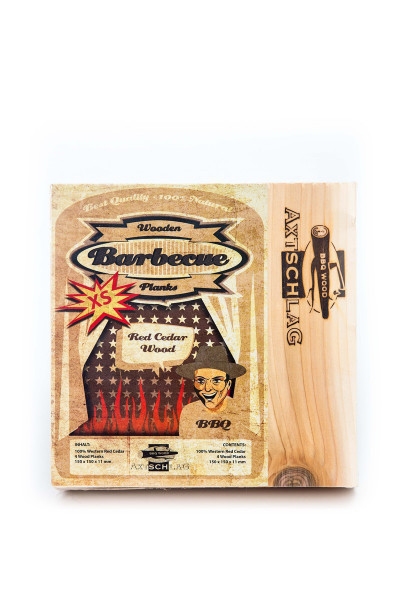 AXTSCHLAG Wood Planks 4er-Set Grillbrett Western Red Cedar XS 150x150x11 mm